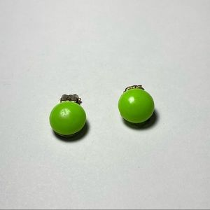Vintage Small Green Round Clip On Earrings Stamped